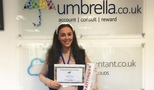 """Congratulations to Hannah Kelman, Payroll, on winning Umbrella.co.uk October Employee of the Month. """"Hannah's enthusiasm and willingness to go the extra mile is valued by everyone in the business. As a key contributor to the payroll team and the wider business, the award is well deserved. Well done Hannah, enjoy the champagne!"""""""