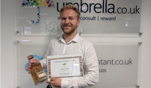 """Congratulations to Reece Griffiths on winning July Umbrella.co.uk Employee of the Month. Reece Joined Umbrella.co.uk Payroll Team from University. """"Over the past year Reece has grown in to the role and has become an integral part of our payroll function. Reece shows great attention to detail and has become a go to person with in the team."""" Jon Biddle - Chief Operating Officer"""