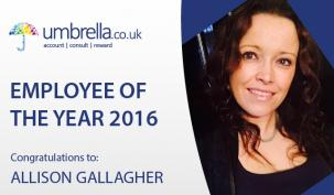 Allison Gallagher wins Umbrella.co.uk Employee of the Year 2016