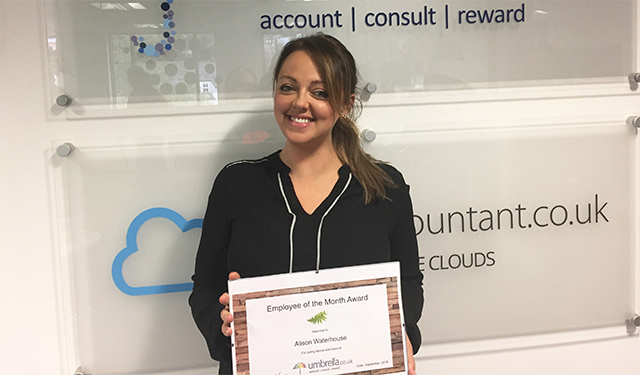Alison Waterhouse Wins Umbrella.co.uk Employee of the Month