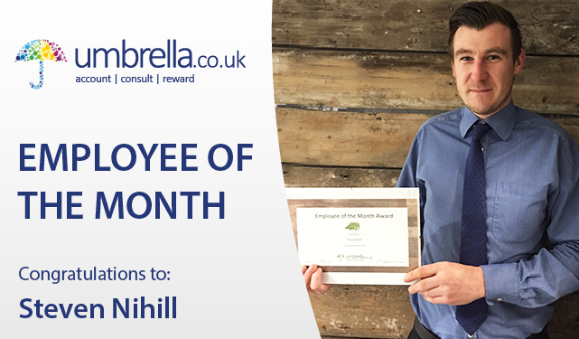 Steven Nihill Umbrella.co.uk Employee of the month April 2017