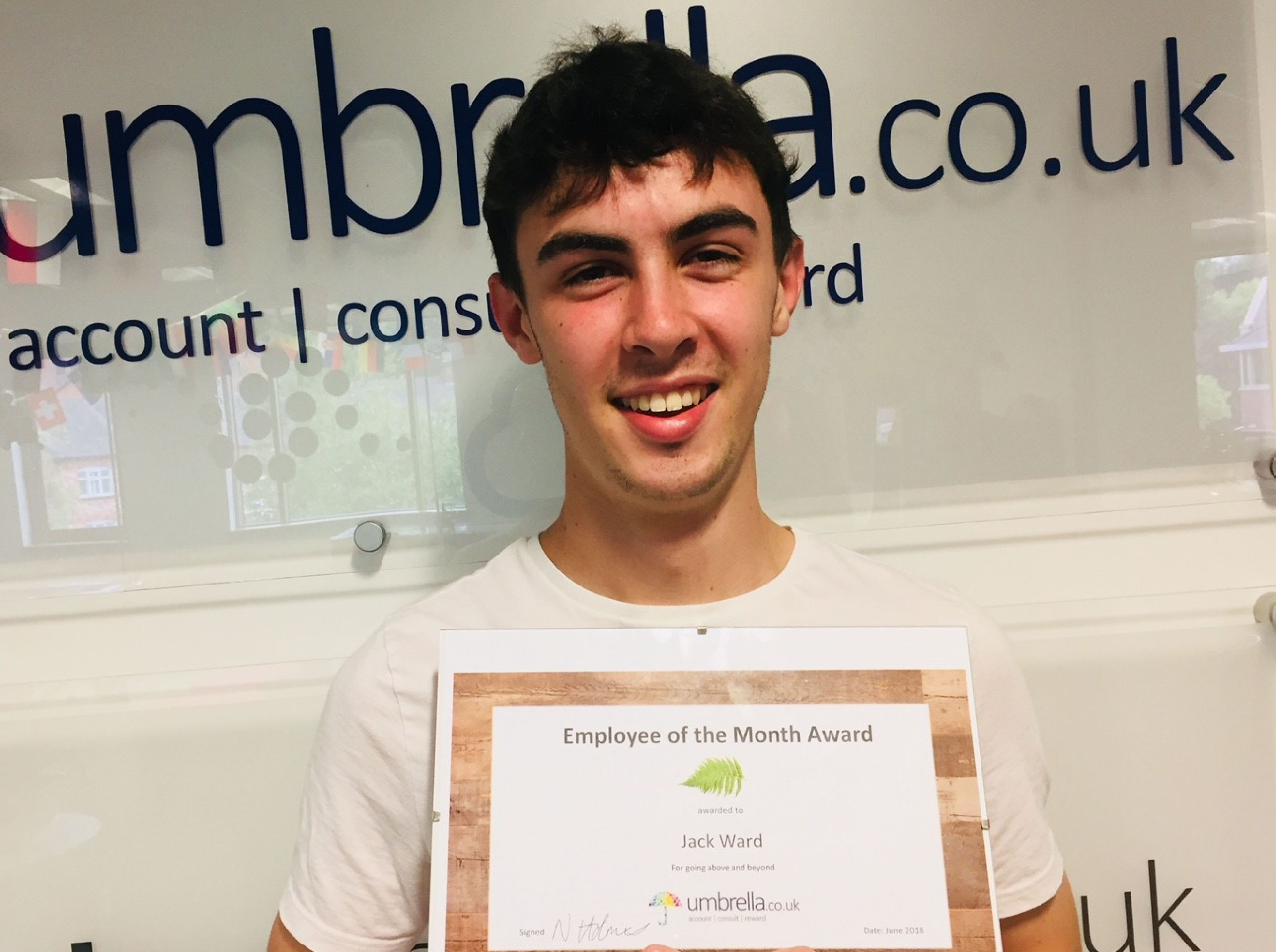 Jack Ward - Employee of the Month June 2018 - Umbrella Accountants